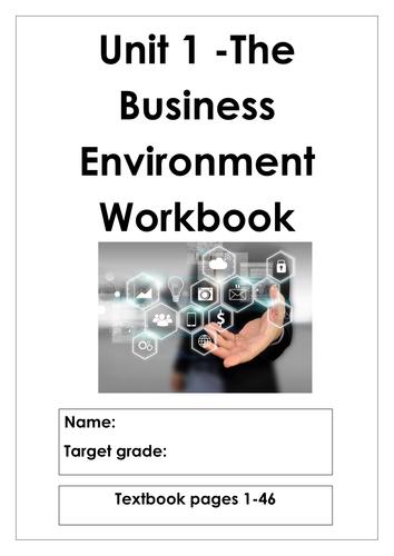 L3 Cambridge Technicals Business Studies Unit 1 The Business Environment workbook