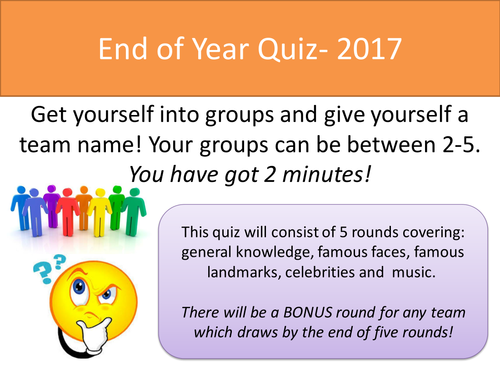 End of Year Quiz- 2017