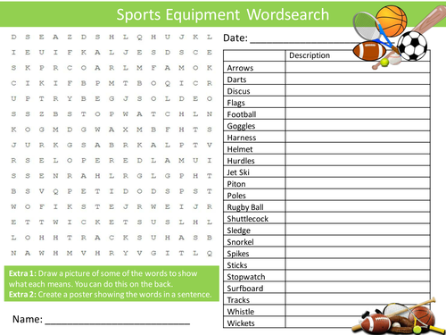 sports equipment wordsearch starter activity pe sports day homework cover lesson plenary by. Black Bedroom Furniture Sets. Home Design Ideas