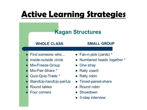 Active Learning CPD (Kagan) - 2 presentations to choose from