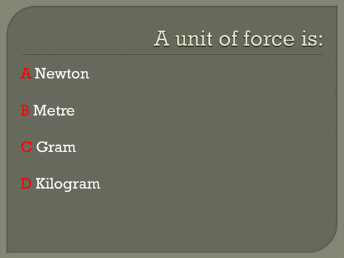 Forces and Pressure KS3 Physics Topic - L11 - Revision of Topic