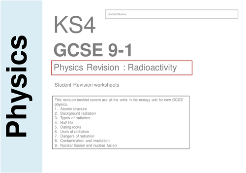 Gcse physics 9-1 Radioactivity booklet