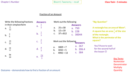 1.1a Calculations - Fraction of an amount