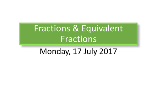 Year 3: Equivalent Fractions