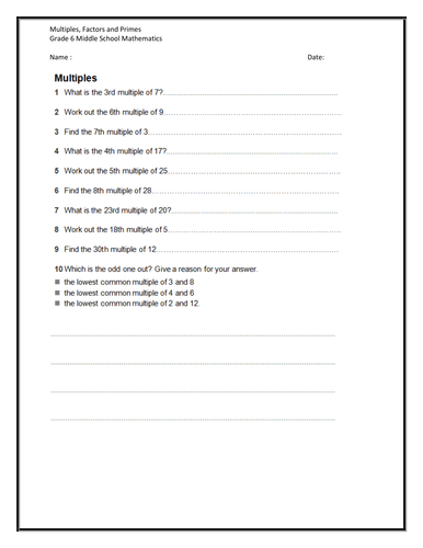 Middle Mathematics   Worksheet on Multiples  factors and also  moreover prime or  posite numbers worksheets – redoakdeer besides Factors Worksheets   Printable Factors and Multiples Worksheets besides  furthermore Prime and  posite Numbers Worksheets   FREE  Activity Pack likewise free prime factorization worksheets – pachislot likewise Prime Factor Worksheet Prime Factorization Trees Factors Worksheets likewise  additionally Factor Worksheets   Free    monCoreSheets in addition Free Prime And  posite Numbers Grade Worksheets Identifying Prime also 6  factor tree  prime or  posite worksheet math 7th grade further Prime Factorization Worksheet 6 Grade Factoring Factors ed And additionally what is the prime factorization of 6 math – findeth club together with Free worksheets for prime factorization   find factors of a number besides Worksheets On Factors Multiples And Prime Numbers Primes Worksheet. on prime numbers worksheet grade 6