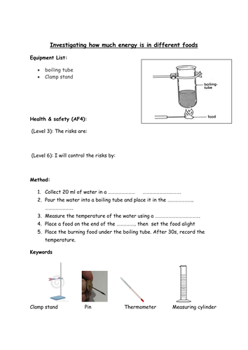 KS3 Science Energy from Food differentiated activity