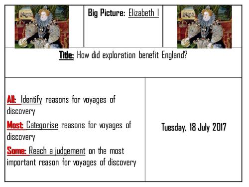 AQA 8145 Elizabeth I - Voyages of Discovery: benefits