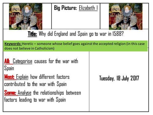 AQA 8145 Elizabeth I  - Causes of the war with Spain