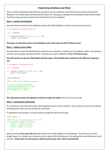 A-Level - Tkinter Database - OCR - Python - User interface