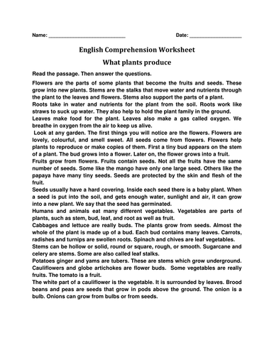 English Comprehension Worksheet 'What Plants Produce'