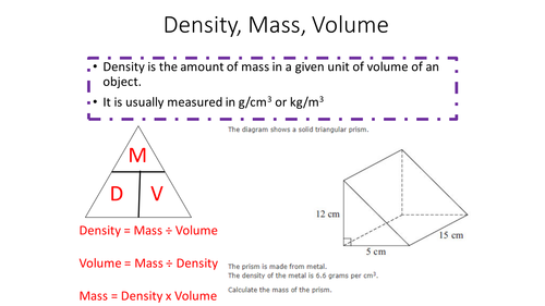 Teach in 20 Density, mass, volume