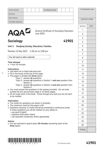 GCSE Sociology (AQA Legacy Specification): Plan of Delivery & Support Materials (Unit 1 & 2)