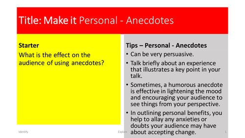 Speeches - L5 - Personal Elements - Anecdotes