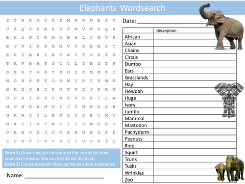 Elephants Wordsearch Starter Activity Animals Nature Homework Cover Lesson Plenary