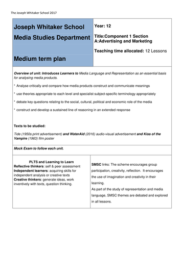 Eduqas Media Studies A level NEW SPEC MTP Component 1a advertising and marketing