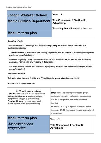 Eduqas Media Studies A level NEW SPEC MTP Component 1b advertising and marketing