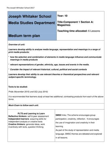 Medium Term Plan for NEW Eduqas Media Studies GCSE 9-1 Component 1a Magazines