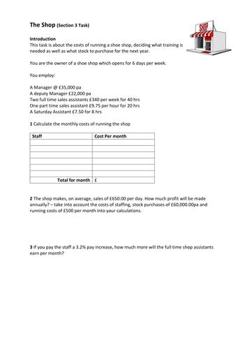 FS Maths  Level 1/2 - Data Handling - The Shop