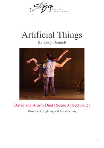 GCSE Dance Artificial Things Student Workbook: Amy and David's Duet.