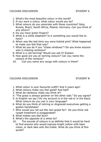 English Discussion Activity - Colours