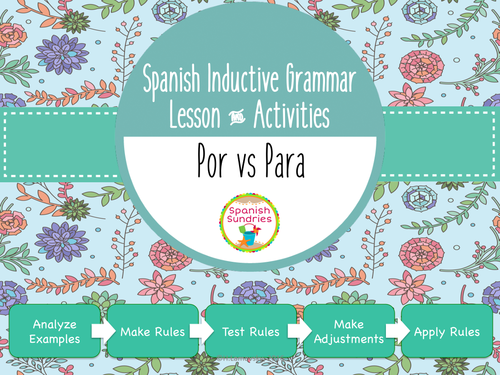 Spanish Inductive Grammar Lesson - Por vs Para
