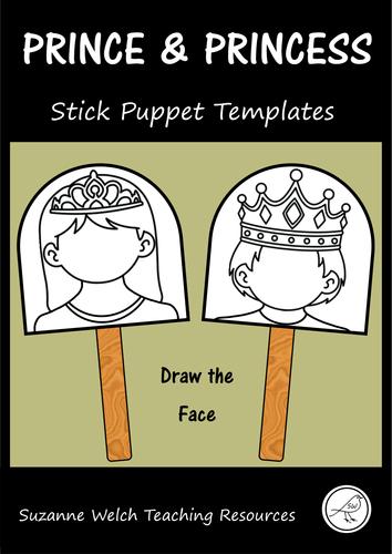 Prince and Princess - Stick Puppet Templates