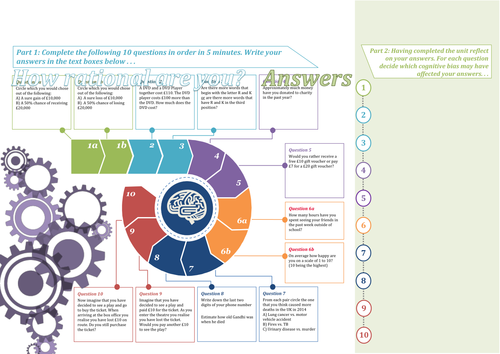 Behavioural Economics Worksheet - Worksheet with Teacher Answers and Quantitative Skills Extension