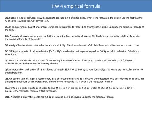 Question on empirical formula