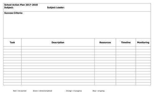 school action plan template by ali30r teaching resources tes