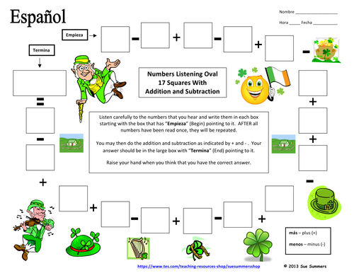 Spanish Numbers Listening and Math Activity - St  Patrick's Day Theme