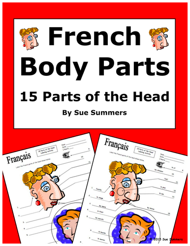 French Body Parts 15 Parts of the Head to Label