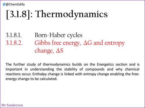 Aqa 3182 Entropy Gibbs Free Energy New Aqa A Level 2016
