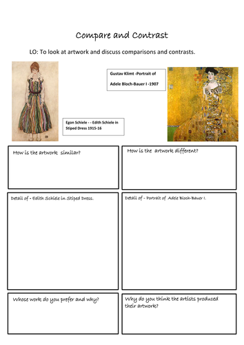 Compare and Contrast Art Worksheets