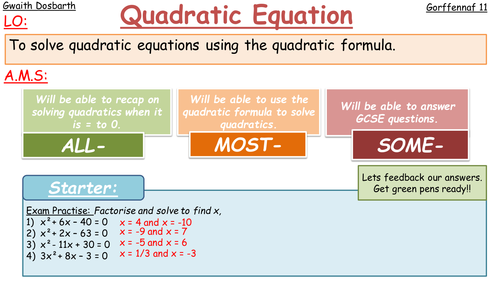 Quadratic Formula (WHOLE LESSON)