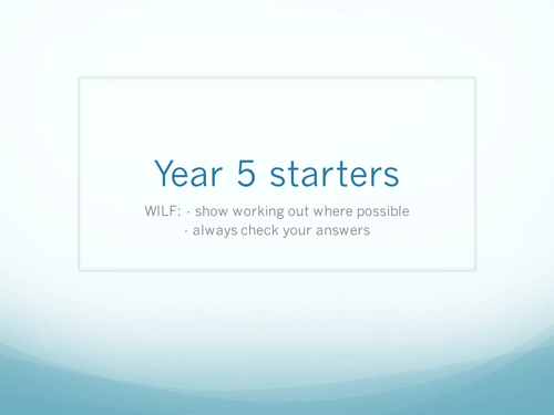 Year 5 Maths Starters/plenaries on various maths topics