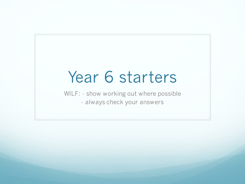 Year 6 Maths Starters/plenaries