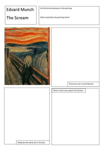 Famous art activity worksheets