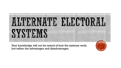 Alternate Electoral Systems