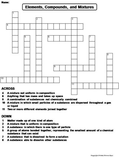 Elements Compounds and Mixtures Crossword Puzzle ...
