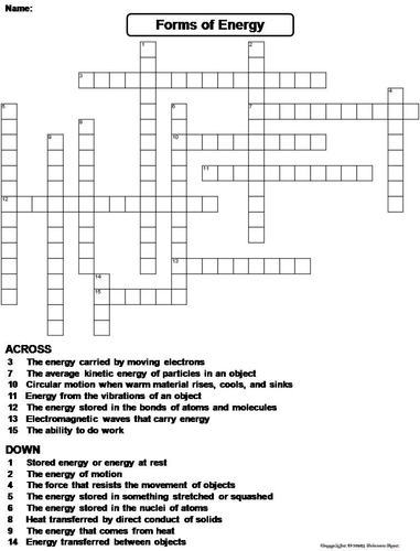 forms of energy crossword puzzle by sciencespot teaching resources tes. Black Bedroom Furniture Sets. Home Design Ideas