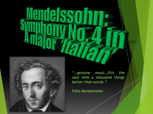 Analysis of Mendelssohn's Symphony No. 4 (Italian), Mvts. I-IV