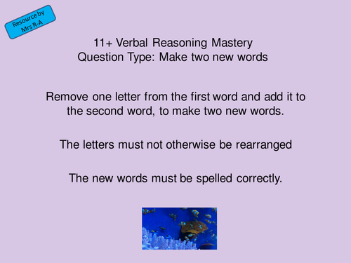 11+ Mastery Verbal Reasoning Make Two New Words Eleven Plus