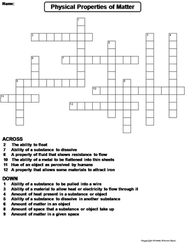 physical properties of matter crossword puzzle by sciencespot teaching resources tes. Black Bedroom Furniture Sets. Home Design Ideas