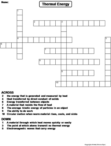 Thermal Energy Crossword Puzzle By Sciencespot Teaching