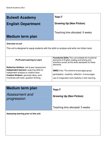 Medium Plan Non Fiction Writing 'Growing Up' Theme. suggested lesson outlines.