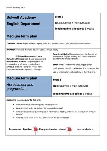 Medium Term Plan Dracula Playscript MTP lessons linked to text