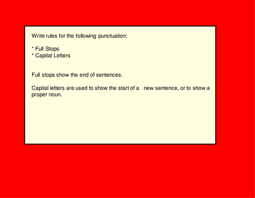 Punctuation Literacy lesson/selection of starters powerpoint any age.