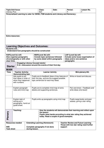Save Our Park Writing Skills SOW Lesson One fully resourced low ability KS3 KS2 Literacy lessons
