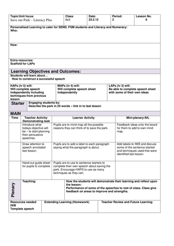 Save Our Park Writing Skills SOW Lesson 5 fully resourced low ability KS3 Literacy speech writing