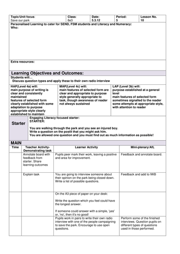 Save Our park literacy lesson 10 Radio Interview script writing skills ks3